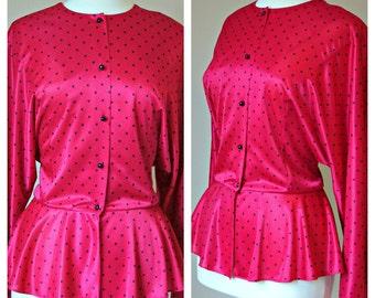SALE Vintage Red PEPLUM Blouse with black dots size Medium/Large