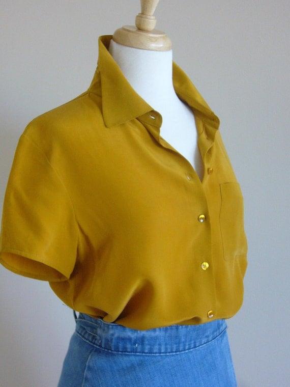 Short Sleeve  100% Silk Blouse in Golden Saffron