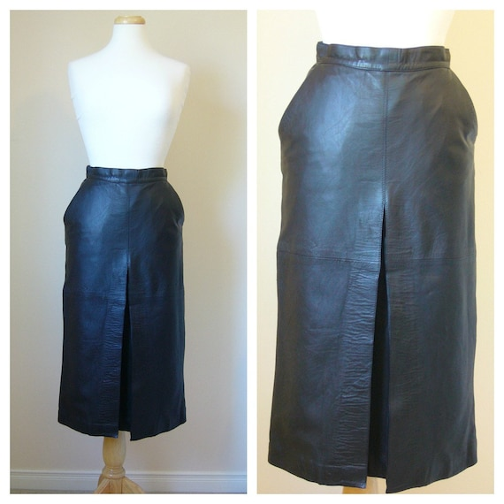 Vintage Black LEATHER MIDI SKIRT with Single (Read: Perfect) Pleat