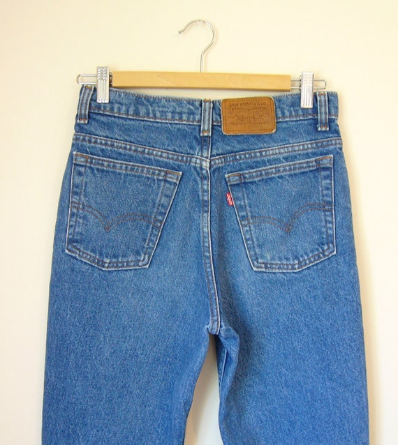 Vintage LEVIS Slim Leg Jeans with Leather Patch Label size small/medium