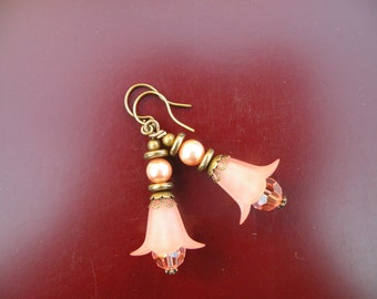 Rose Peach Lucite Lily Dangle Earring with Rose Peach Swarovski Pearl and Crystal