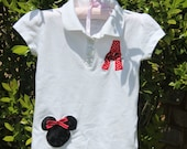 Monogrammed/Personalized/Customized Disney - Minnie Mouse or Mickey Mouse Ears polo (onesie or tshirt), initial applique & name