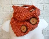 Copper Seed Stitch Wood Button Chunky Knit Scarf
