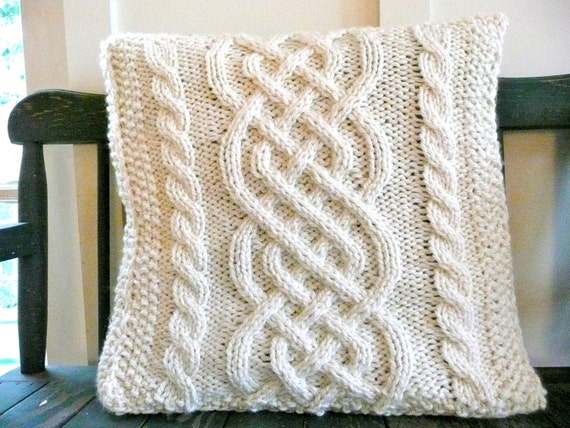 Celtic Knitting Patterns Free : RESERVED FOR MRSTARRANT1 Celtic Weave Knit Pillow Cover