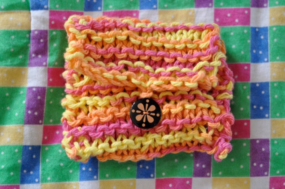 Bright orange, pink, and yellow coin purse