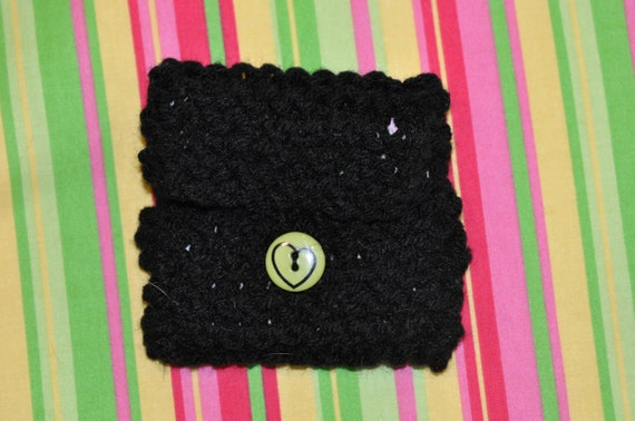 Black and green coin purse