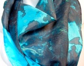 Ocean Blue  one of a kind SILK SCARF for Women.  Hand Painted Silk Scarf by New York Artist Joan Reese/ 100% Silk/Square Scarf