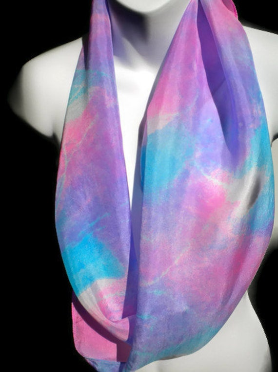 Jazzy Blues and Purple SILK SCARF for Women. Hand Painted Silk Scarf by NYC artist Joan Reese/100% silk