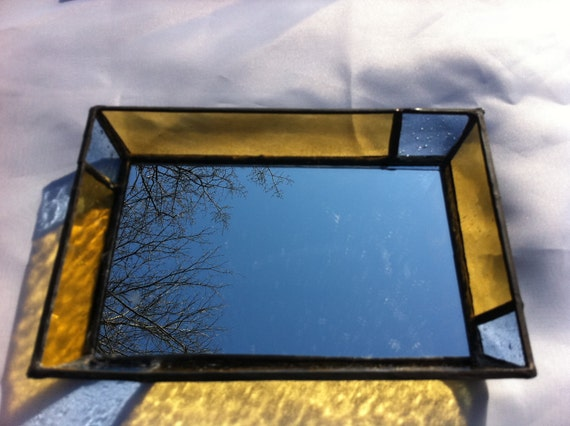 sky blue and sunny yellow stained glass decorative mirror  tray