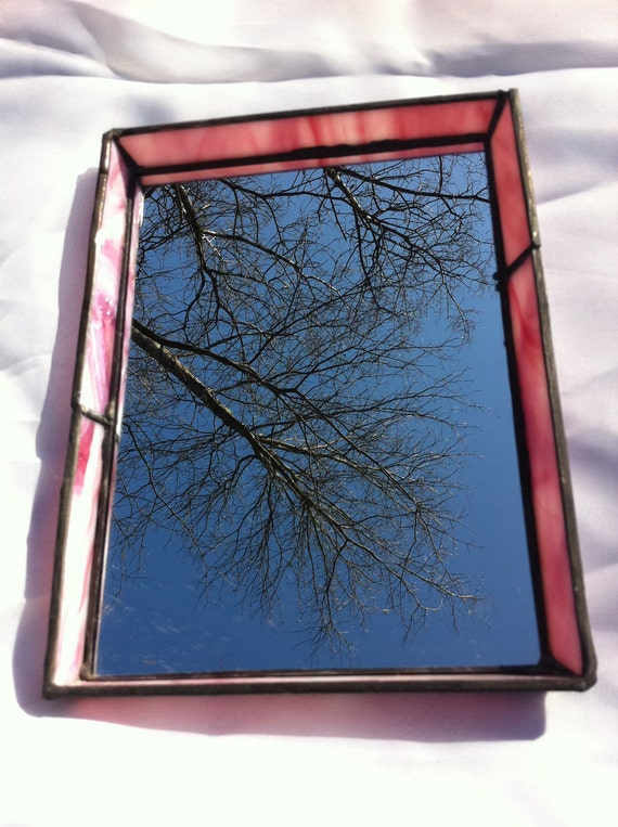 pink marbled stained glass mirror tray