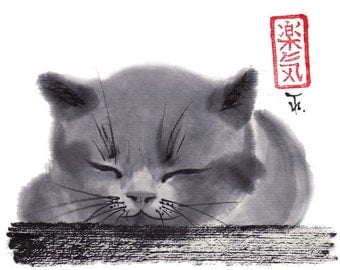 "Cat art, Print ""Sleepy Cat"", japanese art, sumi-e, black and white, Wall decor, nursery,home decor, gift for her, him, Asian art, bestseller"