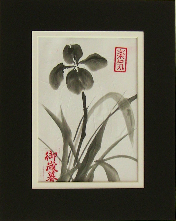 "Original Sumi-e Painting ""Iris"" - Japanese ink wash painting - Bamboo Brash on rice paper"