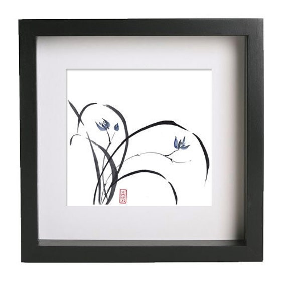 "Original Sumi-e Brush Painting ""Blue Orchid"" - Japanese art - bamboo brash on rice paper 13x13 - art form AnimaAllegra"