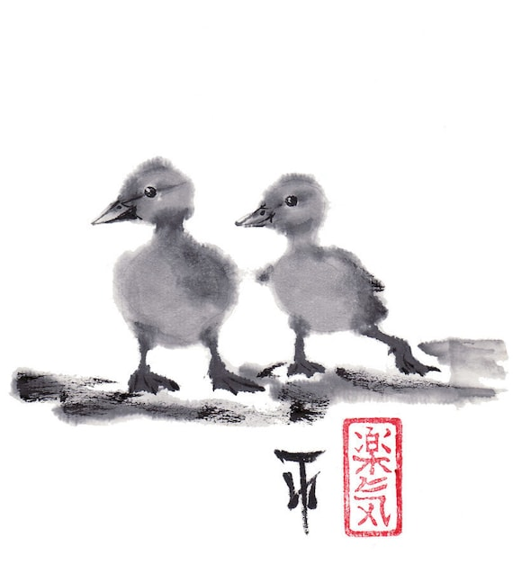 "Original Art painting - Japanese sumi-e drawing - Wall decor ""2 duckling friends"" from AnimaAllegra - bamboo brash on rice paper"