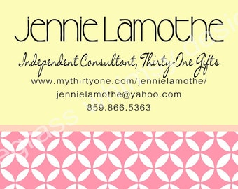 Custom Business Card, Yellow, Pink