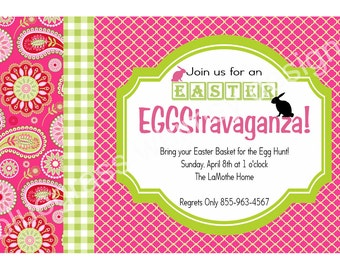Easter Egg Hunt Party Invite- pink and green
