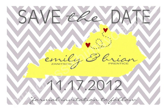Wedding Save the Date Cards- State, Chevron