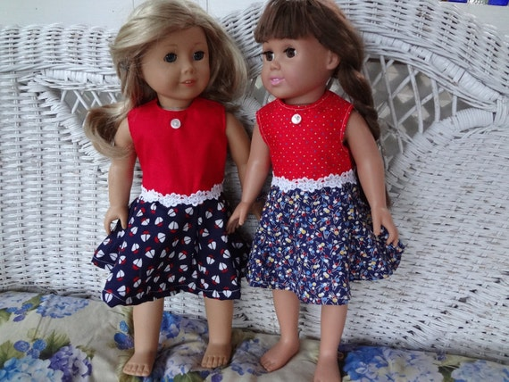 set of two fourth of july dresses for american girl doll