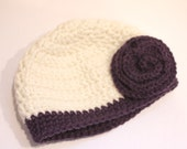 Chunky Crochet Hat with Plum Flower 12 months