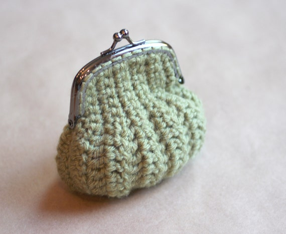 Crochet Coin Purse Green RESERVED for Pamela by RepeatCrafterMe