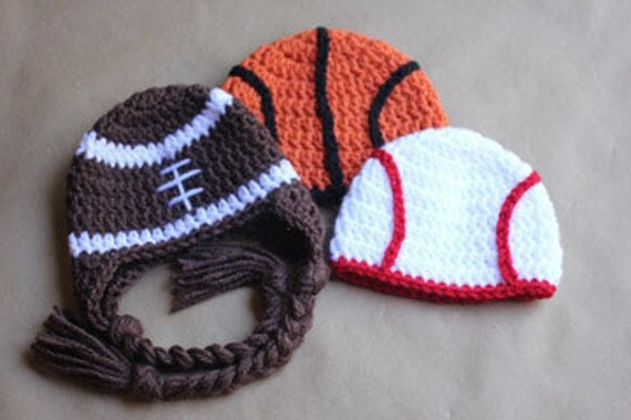 Crochet Sports Theme Baby Hats (Newborn or 3mo size)