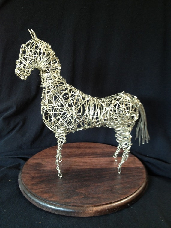 Silver Coated Wire Sculpture of a Horse