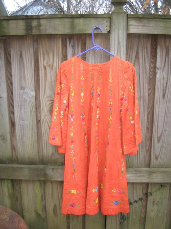 1960s mexican mini dress / 60s ethnic tunic orange embroidered