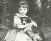 A Sweet Girl and Her Dog, This is an Original 1983 AKC Vintage Book Print