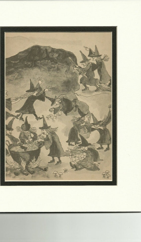 Witch, Witches, Halloween Original Book Page Art