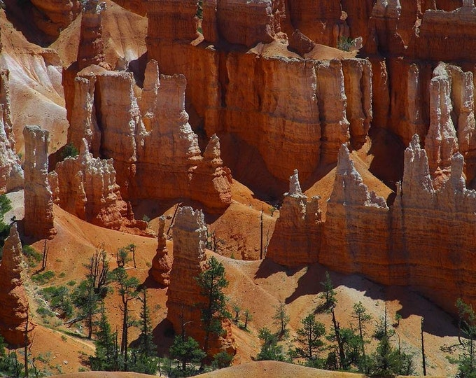 Bryce Canyon - Hoodoo Towers also called a tent rock, fairy chimney, and earth pyramid - Cross Stitch Pattern from Vintage Photograph