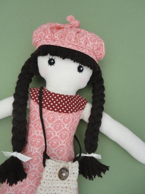 Doll - rag doll - cloth doll - with crochet bag