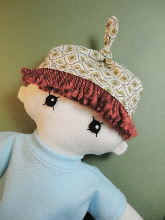 Rag doll - boy doll - cloth doll with knotted hat