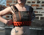 Belly Shirt Recycled Vintage Matirial With Pom-Poms, Orange, Black and Gold Flowers Pattern