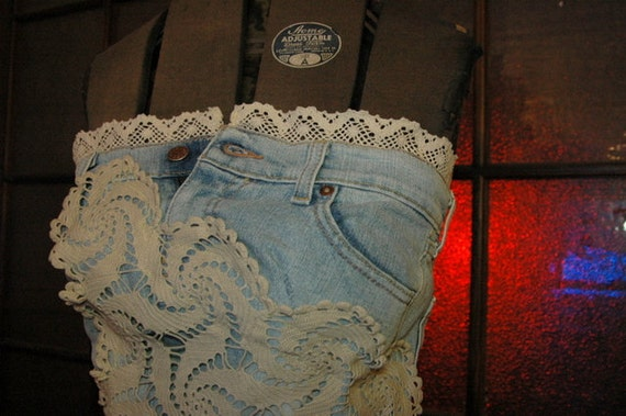 Up-Cycled Corset Jean and Vintage Lace