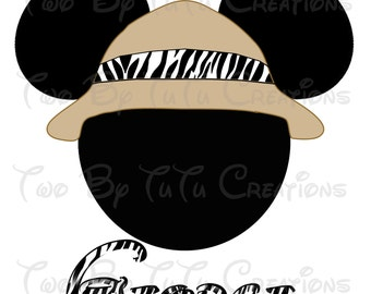 Mickey Mouse Safari Personalized Printable Image for DIY Iron On Transfer Animal Kingdom