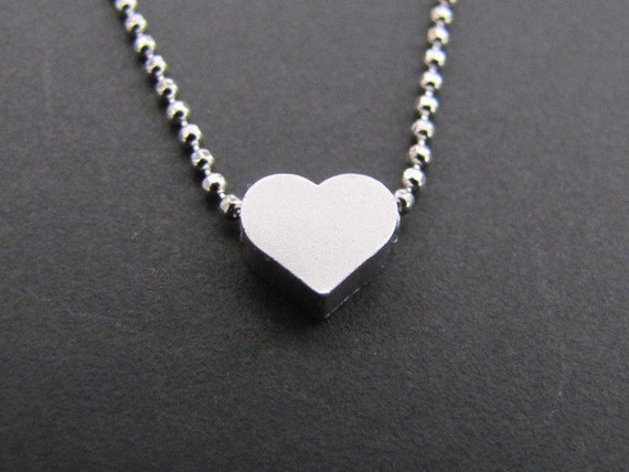 SALE 10% OFF - Cute tiny heart necklace in white gold