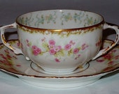 SOLD Limoges Bouillon Soup Cup & Saucer Sets Elite Works Bawo and Dotter Pink Flowers Floral Antique