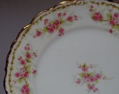 SOLD Two (2) Limoges Salad Plates Elite Works Bawo and Dotter B&D Pink Flowers Floral Antique Easter