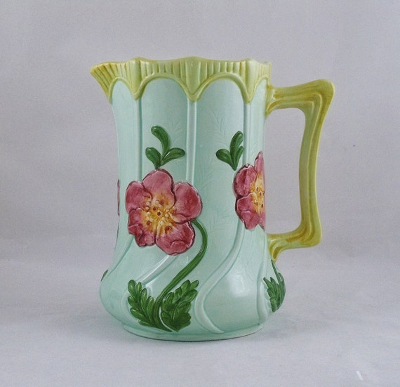 SALE 20% Off - Vintage Pitcher Majolica 1992 Seymour Mann Hand Painted Green Blue Red Flowers Spring Easter