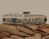Personalized Rhinestone Collar- Rhinestone Letters - Plus a Rhinestone Charm- high quality dog leather collar