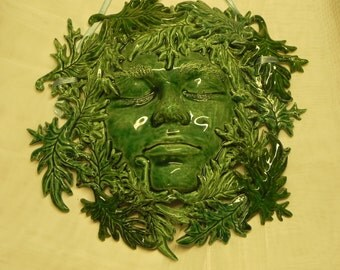Ceramic Green man wall hanging