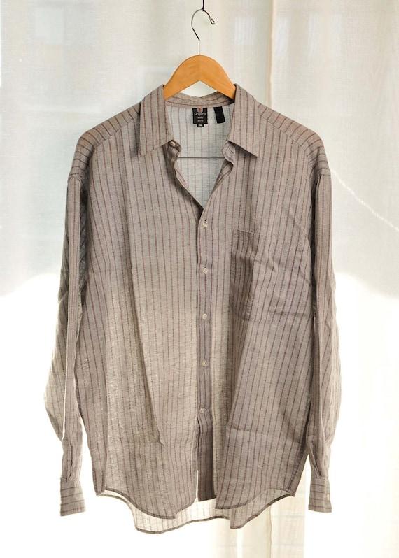 Vintage UNGARO Shirt - 100% Linen - Light grey with purple lines - Size M