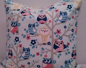 20 x 20 Owl Print Accent Pillow Cover