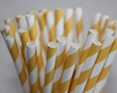 25 Lemon Yellow Striped Paper Straws and Printable Flag Toppers