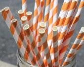 25 Bright Orange Striped Paper Straws and Printable Flag Toppers