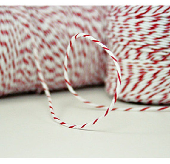 5 Yards Cherry Red Divine Twine with a Wooden Spool