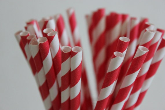 25 Bright Red Striped Paper Straws and Printable Flag Toppers