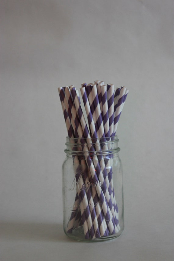 25 Purple Striped Paper Straws and Printable Flag Toppers