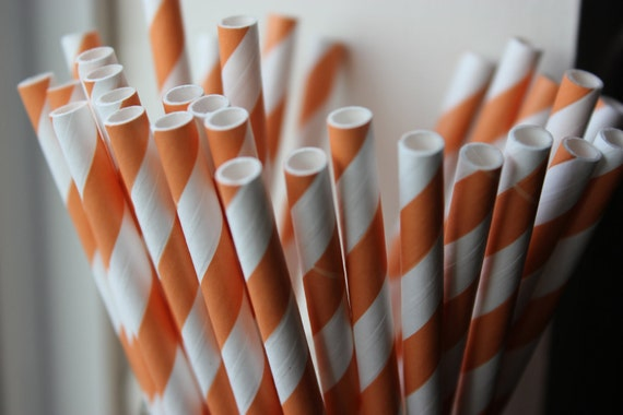 25 Peach Orange Striped Paper Straws and Printable Flag Toppers