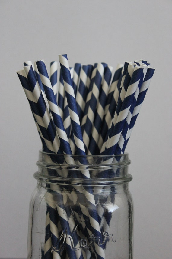 RESERVED 100 Navy Blue Striped Paper Straws and Printable Flag Toppers